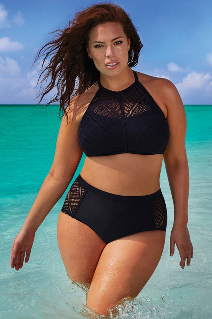 Plus Size Lace Panel High Neck High Waisted Bikini Swimsuit