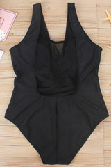 Plus Size Low Back Mesh Panel Plunged One Piece Swimsuit