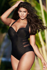 Plus Size Mesh Panel Halter Underwire Bandeau One Piece Swimsuit