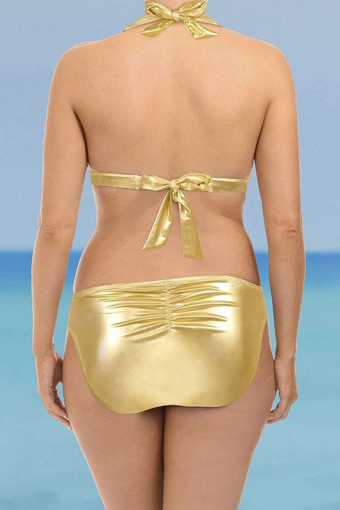 official high fashion choose authentic Plus Size Metallic Halter Slide Triangle Scrunch Bikini Swimsuit