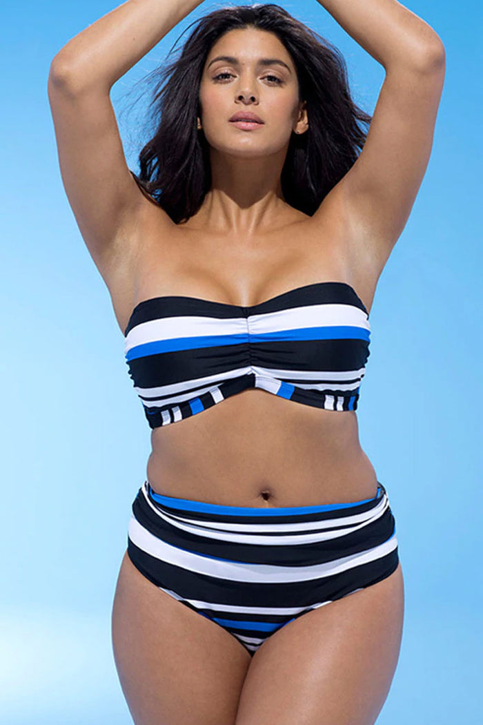 Plus Size Nautical Striped Underwire Bandeau High Waist Bikini Swimsuit