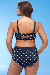 Plus Size Polka Dot Underwire High Waisted Bikini Swimsuit