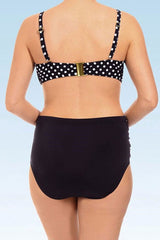 Plus Size Polka Dot V Neck Underwire High Waist Bikini Swimsuit