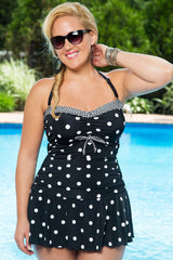 Plus Size Polka Dots Printed Ruched Swim dress