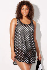Plus Size Polka Dots Tunic Beach Cover Ups