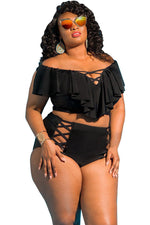 Plus Size Ruffle Off Shoulder Strappy High Waisted Bikini Swimsuit
