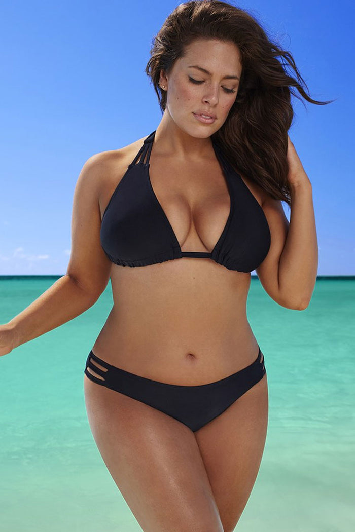 Plus Size Slide Triangle Strappy Halter Bikini Swimsuit