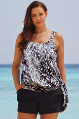 Plus Size Spotted Printed Knotted Boyshorts Tankini Swimsuit