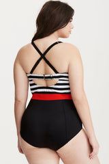 Plus Size Stripe Bandeau Bodice One Piece Swimsuit