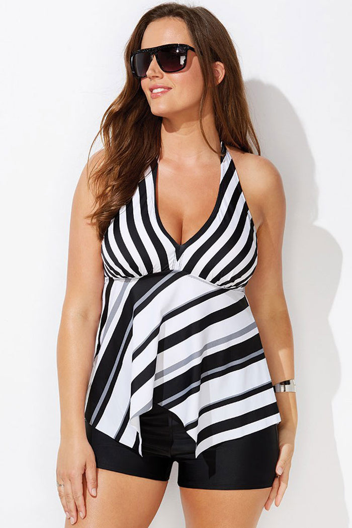 Plus Size Striped Halter Asymmetric Boyshorts Tankini Swimsuit