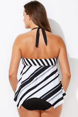 Plus Size Striped V Neck Halter Asymmetric Tankini Swimsuit