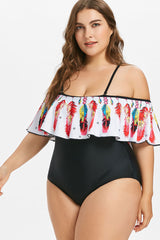 Plus Size Ruffle Feather Printed One Piece Swimsuit