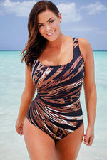 Plus Size Abstract Print Cross Strap Back One Piece Swimsuit
