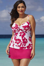 Plus Size Boho Floral Knotted Skirted Tankini Swimsuit
