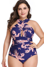 Plus Size Boho Ruched Detail Cross Front One Piece Swimsuit