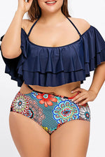 Plus Size Boho Tiered Ruffle Off Shoulder High Waist Bikini Swimsuit