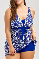 Plus Size Bow Tie Front Ethnie Printed Bodycon Swim Dress