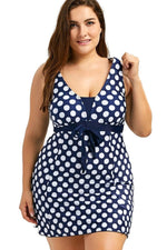 Plus Size Bow Tie Front Polka Dots Printed Bodycon Swim Dress