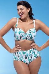 Plus Size Cactus Printed Underwire High Waisted Bikini Swimsuit