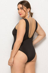 Plus Size Classic Low Back Scoop Neck One Piece Swimsuit