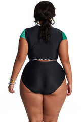 Plus Size Color Block Sleeved Crop High Waist Bikini Swimsuit