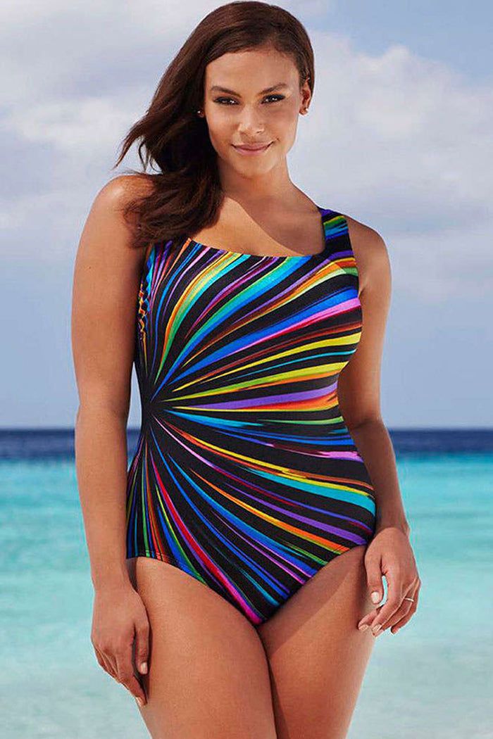 Plus Size Colorful Striped One Piece Swimsuit