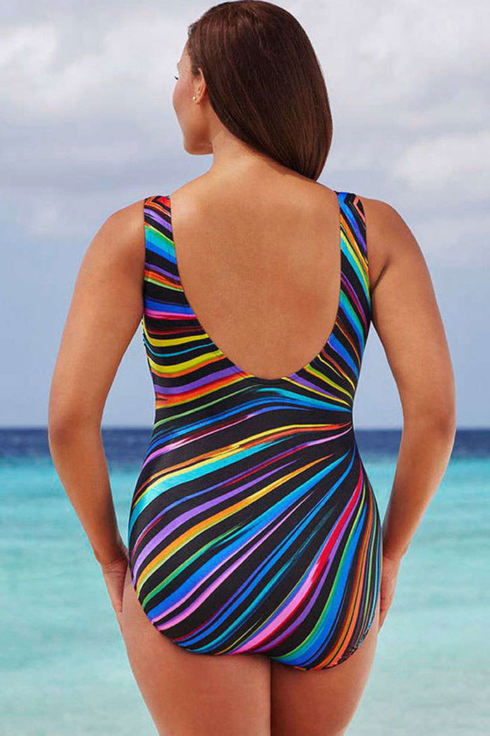 86c2889b96758 Plus Size Colorful Striped One Piece Swimsuit – Plus Bathing Suits