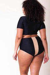 Plus Size Contrast Stripe Sleeved Crop High Waist Bikini Swimsuit