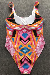 Plus Size Ethnic Colorful Geometrical One Piece Swimsuit