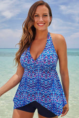 Plus Size Exotic Flowy V Neck Halter Boyshorts Tankini Swimsuit