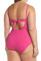 Plus Size Flattering Ruffle V Neck One Piece Swimsuit