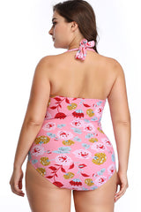 Plus Size Floral Ruched Halter Push Up One Piece Swimsuit
