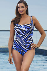Plus Size Irregular Striped One Piece Swimsuit