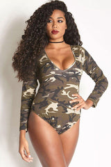 Plus Size Long Sleeve Camo Printed One Piece Swimsuit