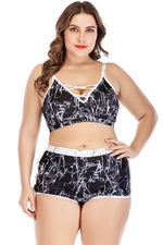 Plus Size Marbling High Waist Boyshort Bikini Swimsuit