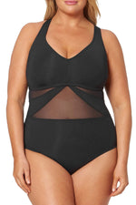 Plus Size Mesh Panel Crisscross Strappy Back One Piece Swimsuit