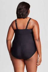 Plus Size Mesh Panel One Piece Swimsuit