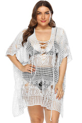 Plus Size Network Lace Up Front Crocheting Beach Cover Up
