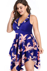 Plus Size Palm Leaf Asymmetric Flowy Halter Swim Dress