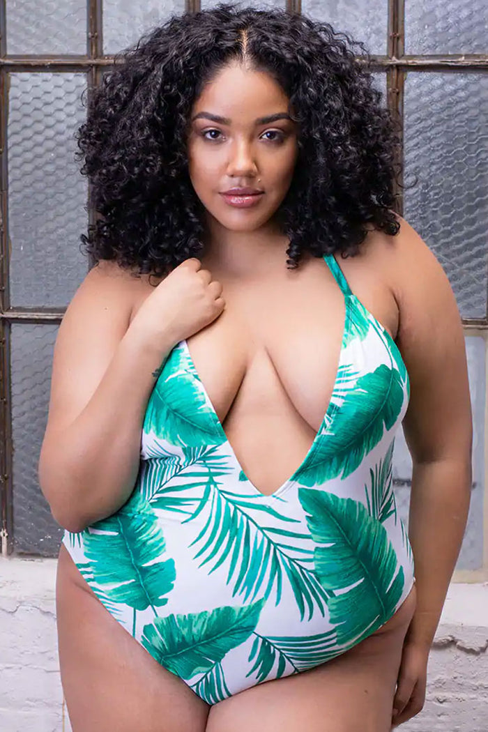 Plus Size Palm Leaf Cross Straps Low Back Deep V One Piece Swimsuit