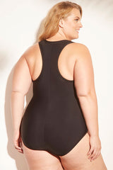 Plus Size Racerback Zipper Front One Piece Swimsuit