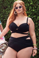 Plus Size Ruched Cross Straps Underwire High Waist Bikini Swimsuit