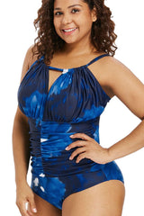 Plus Size Ruched Detail Sliding One Piece Swimsuit