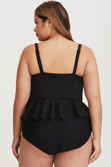 Plus Size Ruched High Waist Ruffle Crop Underwire Tankini Swimsuit