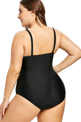 Plus Size Ruched Mesh Panel High Neck One Piece Swimsuit