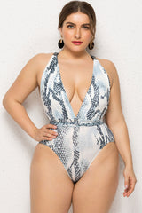 Plus Size Snake Printed Buckle Tie Straps Deep V One Piece Swimsuit