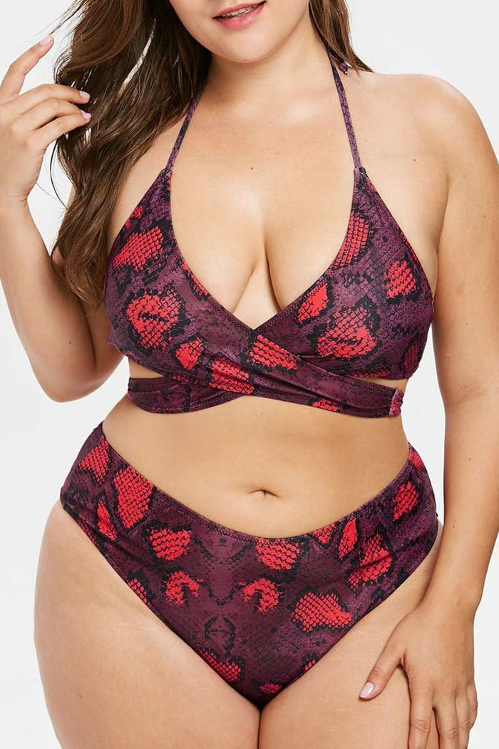 Plus Size Snakeskin Cross Wrap High Waist Bikini Swimsuit