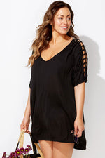 Plus Size Soild V Neck Cutout Beach Cover Ups