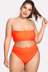 Plus Size Solid Bandeau High Waist Bikini Swimsuit