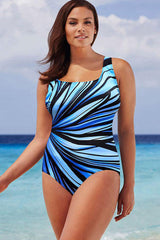 Plus Size Striped Print Cross Strap Back One Piece Swimsuit